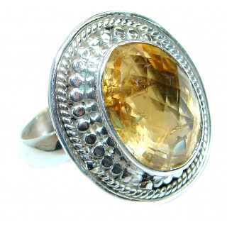 Energazing faceted Citrine .925 Sterling Silver handmade Cocktail Ring size 8 1/4