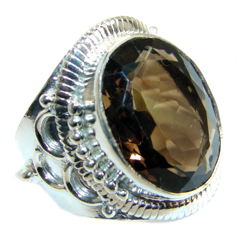 Huge Smoky Topaz .925 Sterling Silver Statement ring s. 13