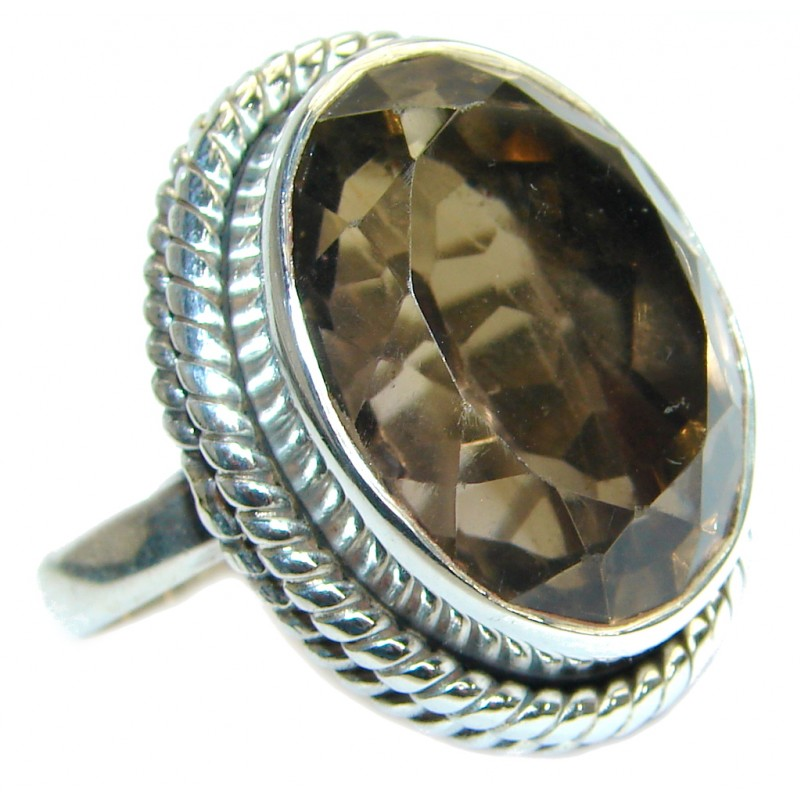 Huge Smoky Topaz .925 Sterling Silver Statement ring s. 9 1/4
