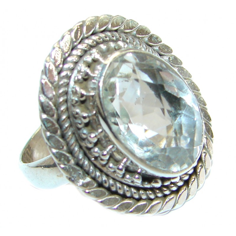 Vintage Style White Topaz .925 Sterling Silver handmade Ring s. 7 1/4