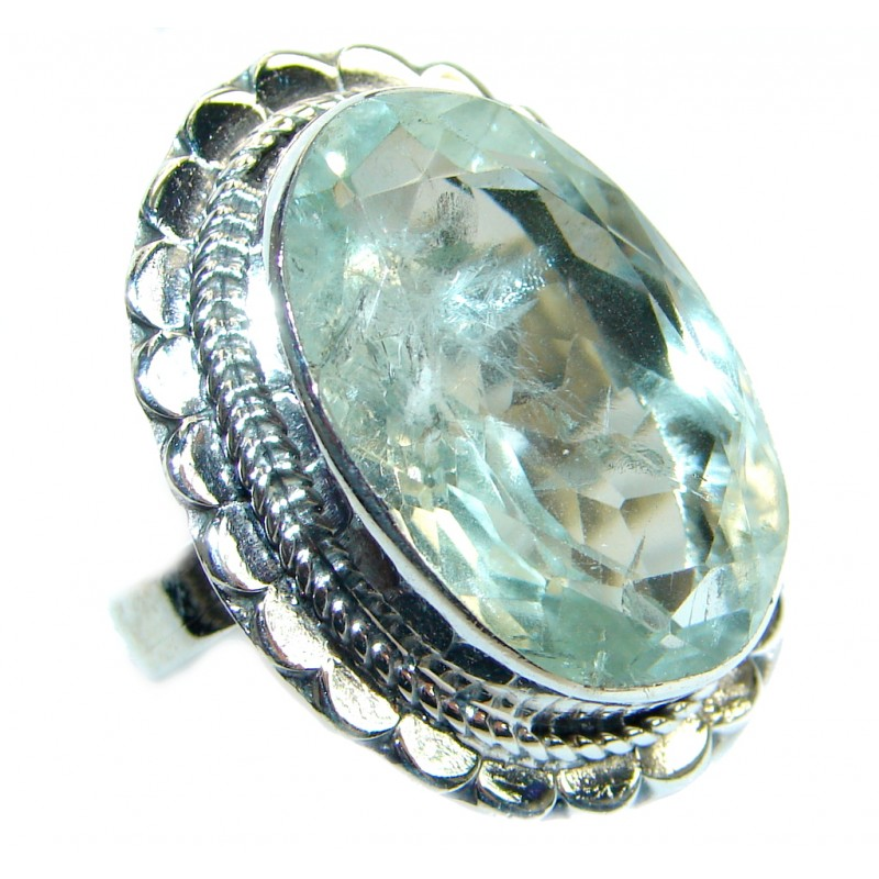Vintage Style Green Amethyst .925 Sterling Silver handmade Ring s. 8