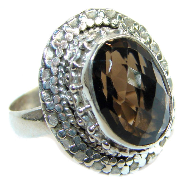 Amazing Smoky Topaz .925 Sterling Silver ring s. 7 1/2