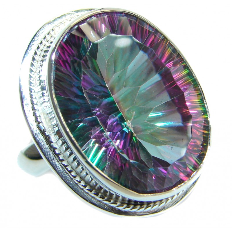 Bold Exotic Magic Topaz .925 Sterling Silver handmade Ring s. 8