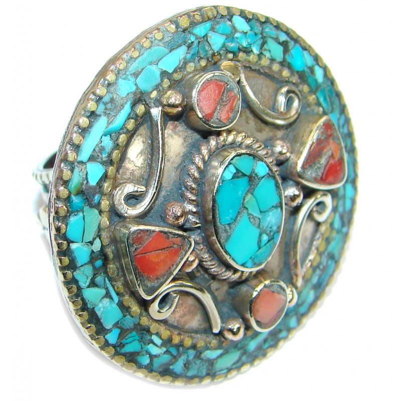 Boho chic Gorgeous Fossilized Coral Turquoise Silver Tone ring s. 10 1/4