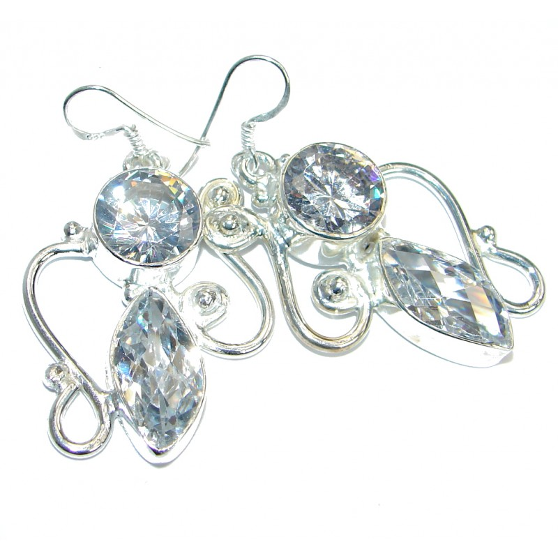 White Topaz Quartz Silver Tone earrings