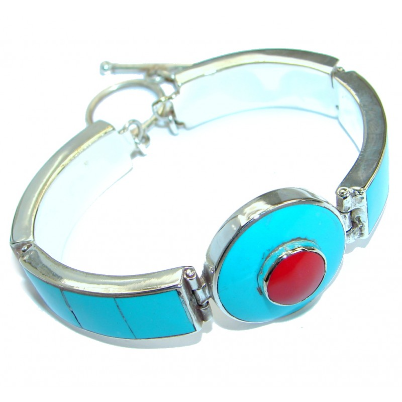 Tibetian Style! Blue Turquoise & Coral Silver Overlay Bracelet