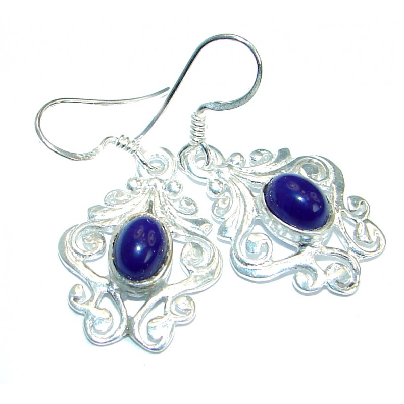 Perfect Blue Lapis Lazuli Silver Tone earrings