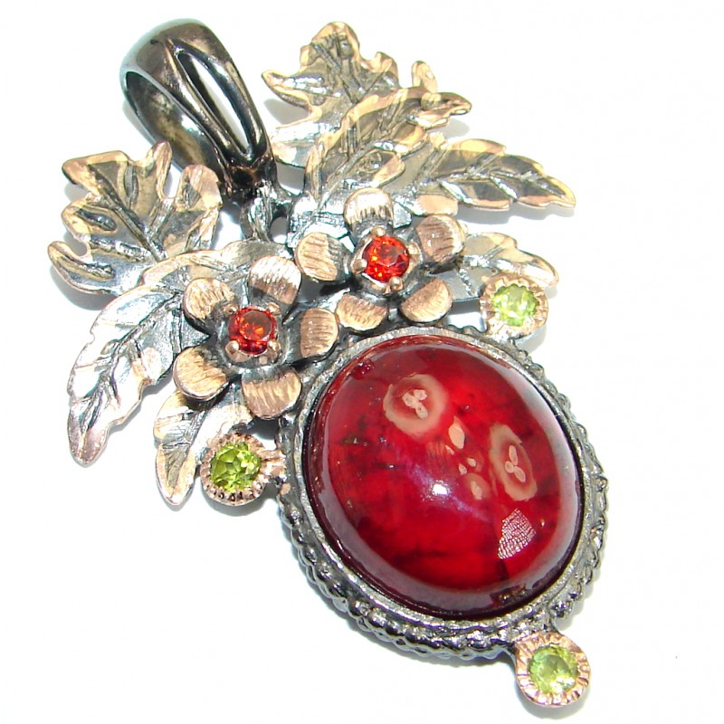 Pure Joy Red Hessonite Garnet Peridot Gold plated over .925 Sterling Silver Pendant