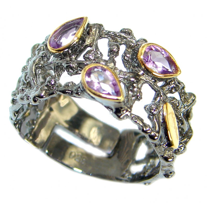 Amazing genuine Amethyst Gold Rhodium over .925 Sterling Silver ring s. 7 adjustable
