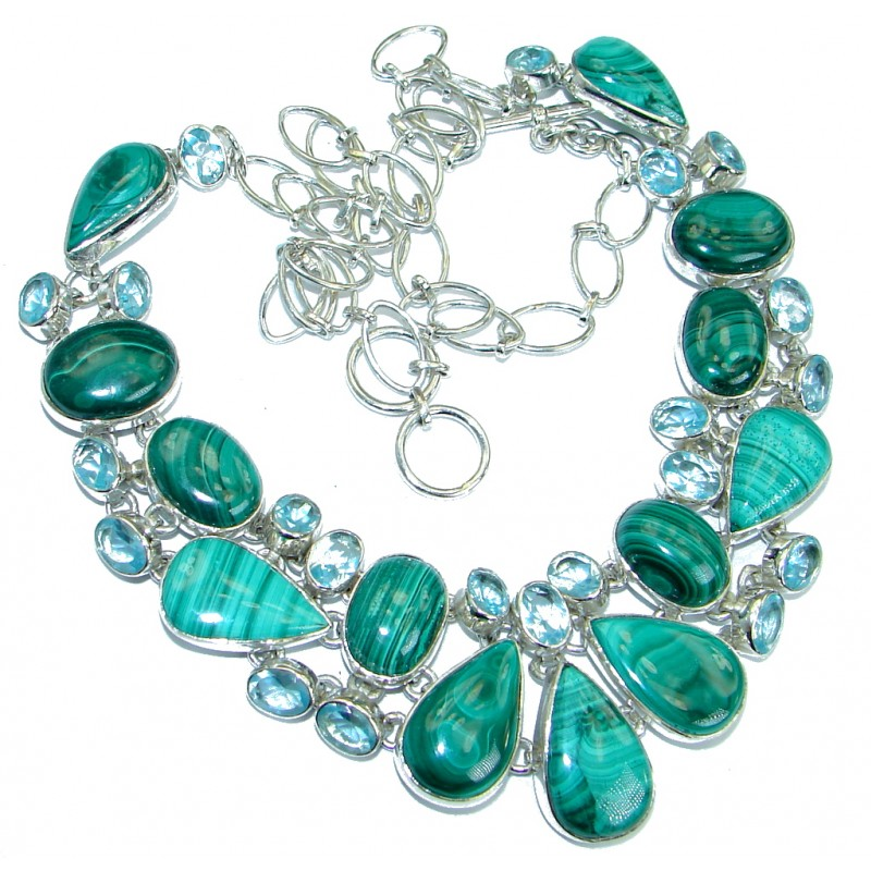 Bohemian Style Authentic Green Malachite Topaz .925 Sterling Silver necklace