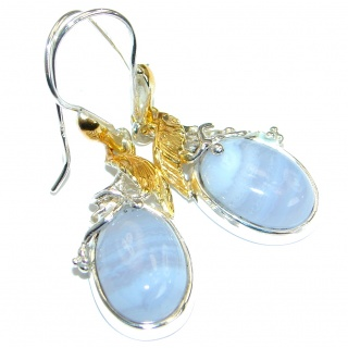Sublime Blue Lace Agate Two Tones .925 Sterling Silver handmade earrings