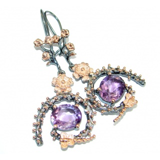 Perfect Amethyst Rose Gold over .925 Sterling Silver handmade earrings