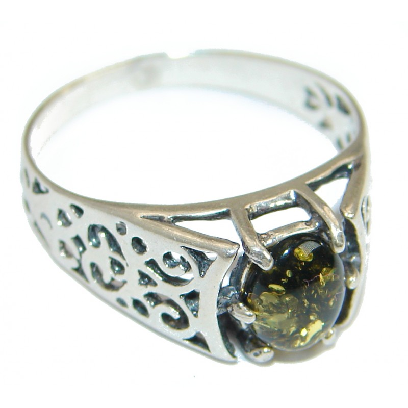 Huge Genuine Green Polish Amber Sterling Silver Ring s. 9