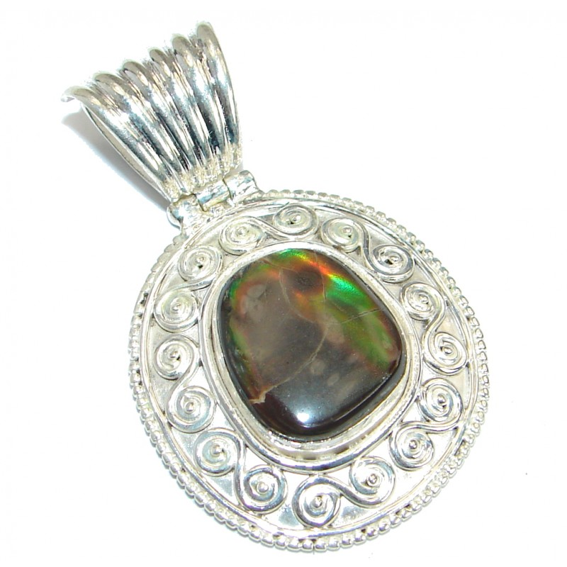 Authentic Beauty Canadian Ammolite .925 Sterling Silver handmade Pendant