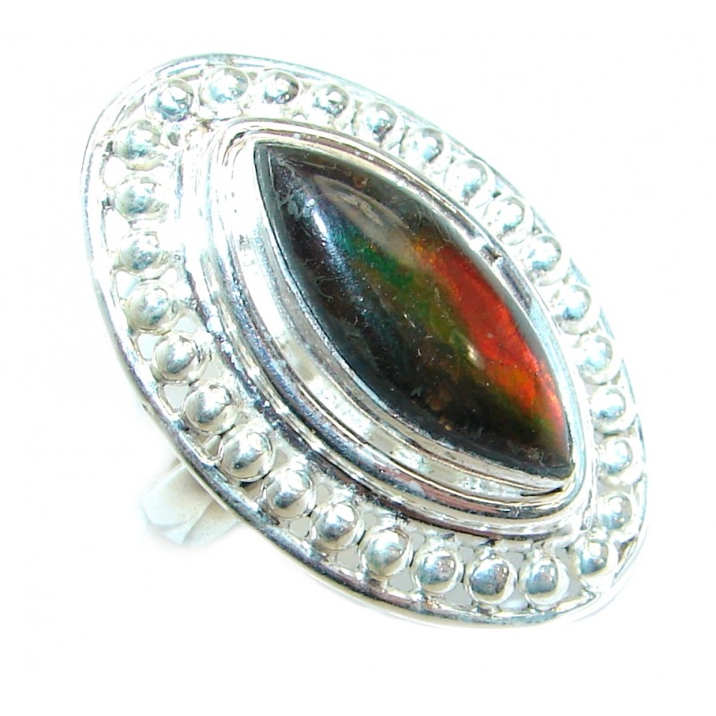 Pure Energy Fire Genuine Canadian Ammolite .925 Sterling Silver handmade ring s. 8 1/2
