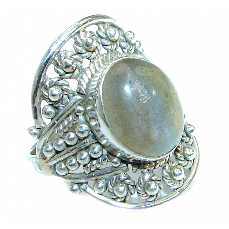 Blue Fire Labradorite .925 Sterling Silver handmade ring size 7 1/4