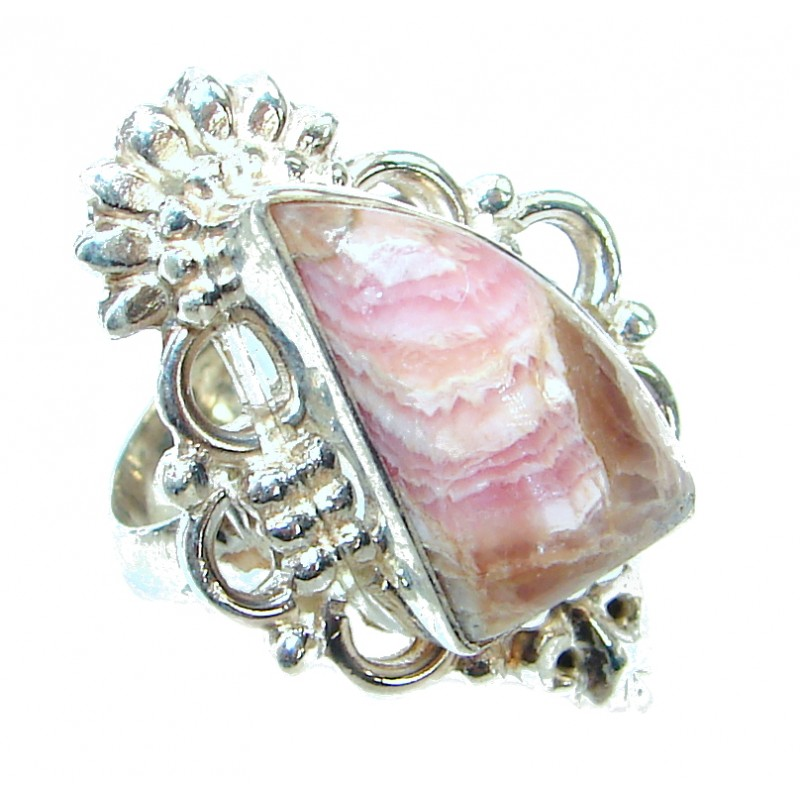 Perfect Rhodochrosite .925 Sterling Silver handmade Ring s. 7