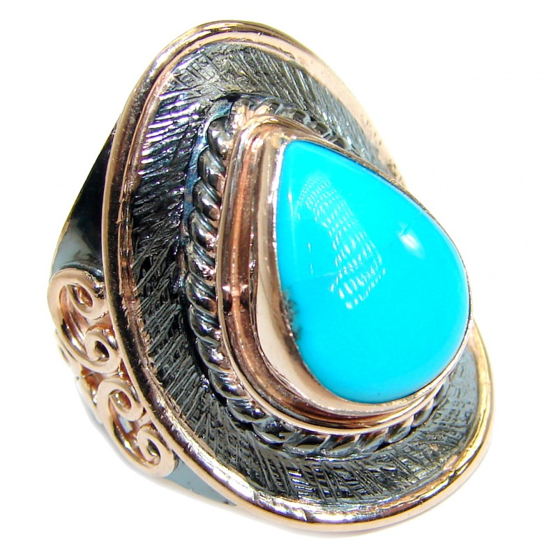 Sleeping Beauty Turquoise Gold over .925 Sterling Silver Ring size 6