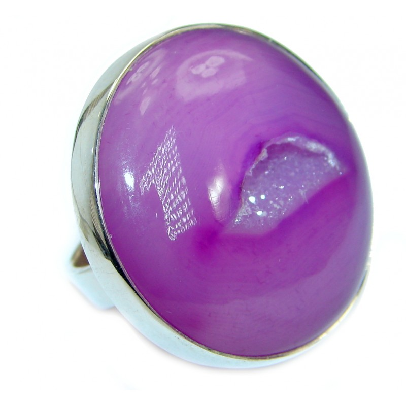 Exotic Druzy Agate Sterling Silver Ring s. 7 1/4