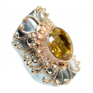Huge Energy Authentic Citrine Rose Gold over .925 Sterling Silver Cocktail Ring size 7