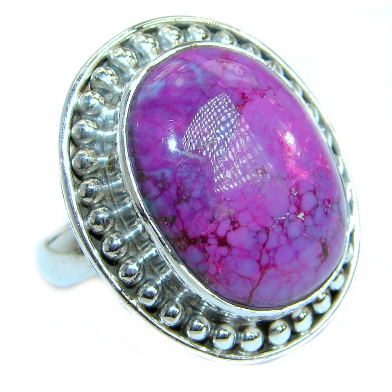 Copper Purple Turquoise .925 Sterling Silver handmade Ring s. 8 1/4