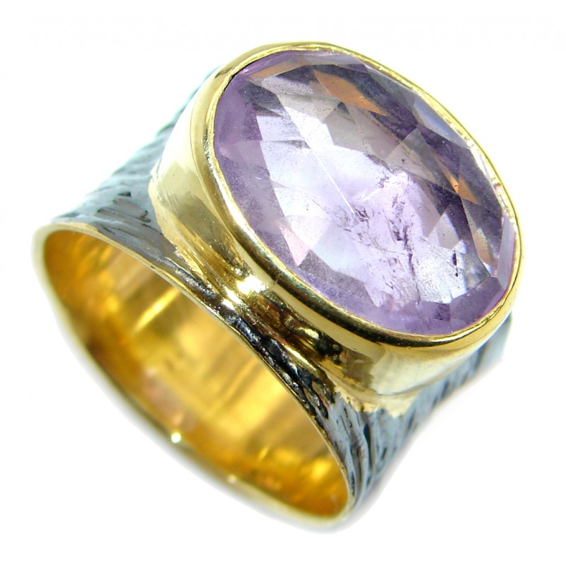 Amazing genuine Amethyst two tones Gold over .925 Sterling Silver ring s. 6