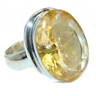 Energazing faceted Citrine .925 Sterling Silver handmade Cocktail Ring size 6 1/4