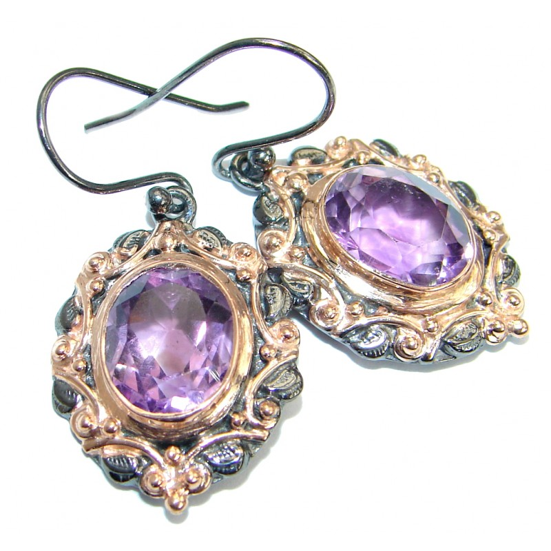 Vintage Style Amethyst Rose Gold over .925 Sterling Silver handmade earrings