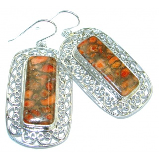 Boho Style Orange Copper Turquoise .925 Sterling Silver earrings