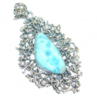 Bold Great quality Beautiful genuine Larimar .925 Sterling Silver handmade pendant