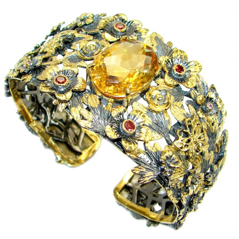 Floral Design Genuine 25ct Citrine Gold Rhodium over .925 Sterling Silver Bracelet / Cuff