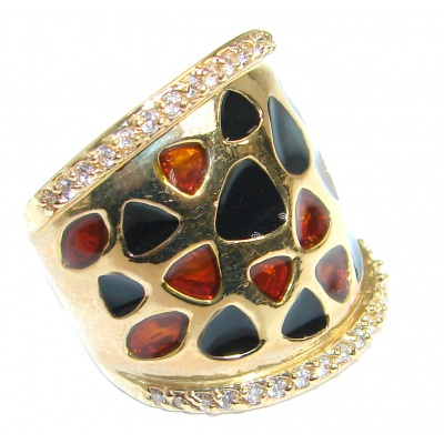 Genuine Onyx Garnet Gold over .925 Sterling Silver handmade Ring size 5 1/2