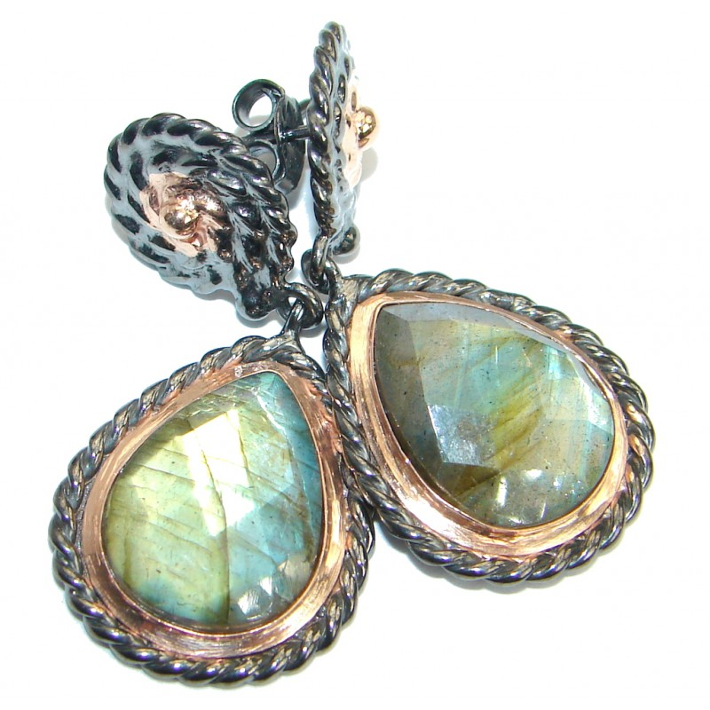 Perfect genuine Labradorite .925 Sterling Silver handmade earrings