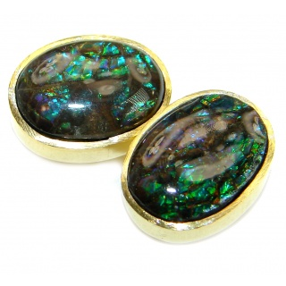 Purple Aura Fire Ammolite gold over .925 Sterling Silver handmade stud earrings