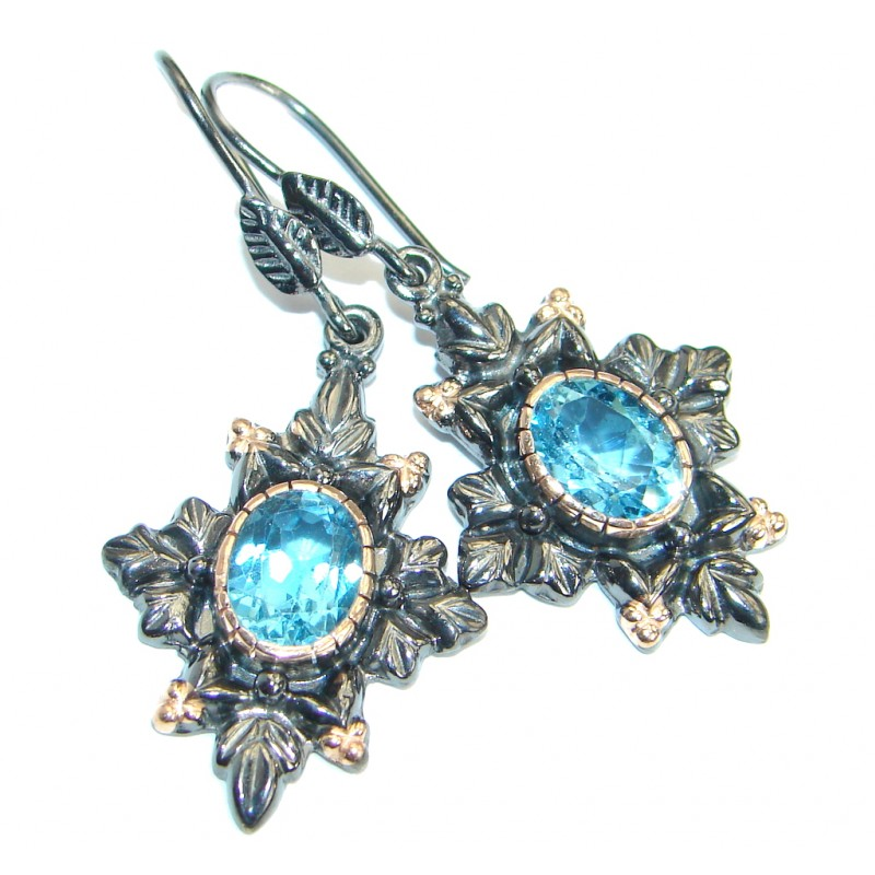 Vintage Design Swiss Blue Topaz Gold over .925 Sterling Silver earrings