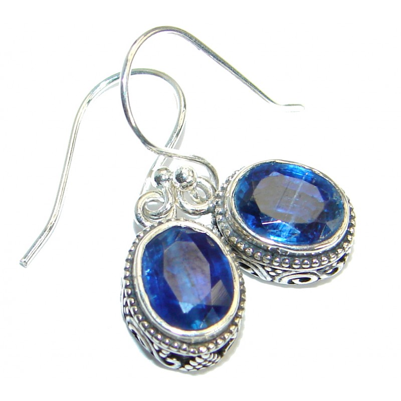 Secret Beauty Sapphire .925 Sterling Silver hook earrings