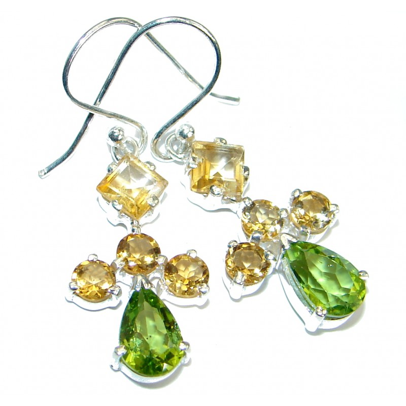 Authentic Peridot Citrine .925 Sterling Silver handmade earrings