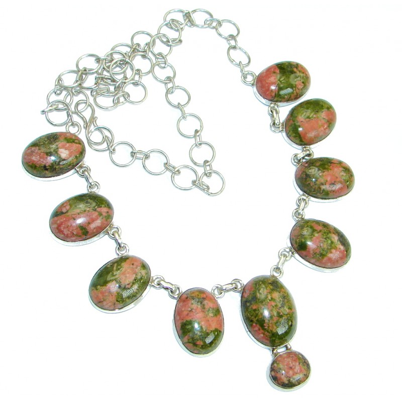 Rare Unusual Natural Russian Unakite .925 Sterling Silver handmade Necklace