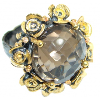 Huge Floral Design Smoky Topaz Gold over .925 Sterling Silver Cocktail ring s. 7 1/4