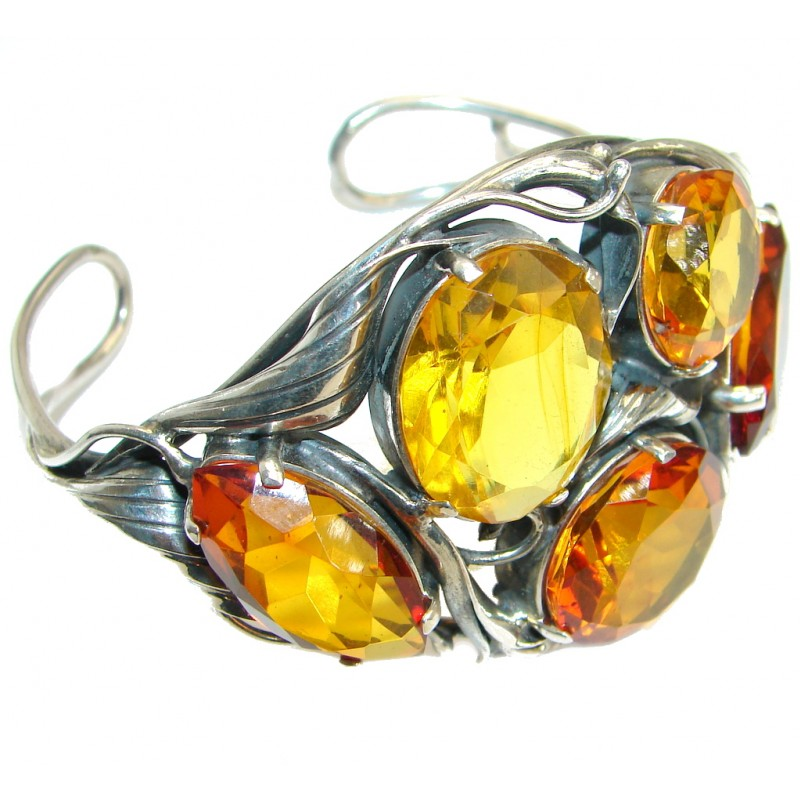 Huge Genuine faceted Russian Amber .925 Sterling Silver Bracelet / Cuff