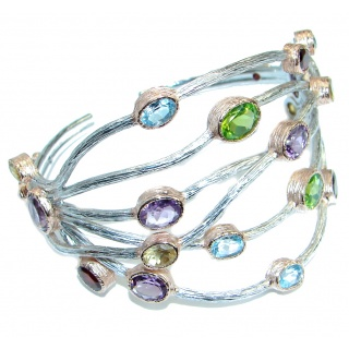 Beauty Rays Authentic Gemstones Rose Gold Rhodium over .925 Sterling Silver handmade Bracelet / Cuff