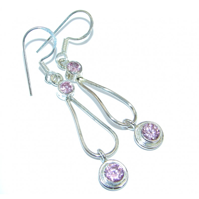 Stunning Pink Topaz .925 Sterling Silver earrings