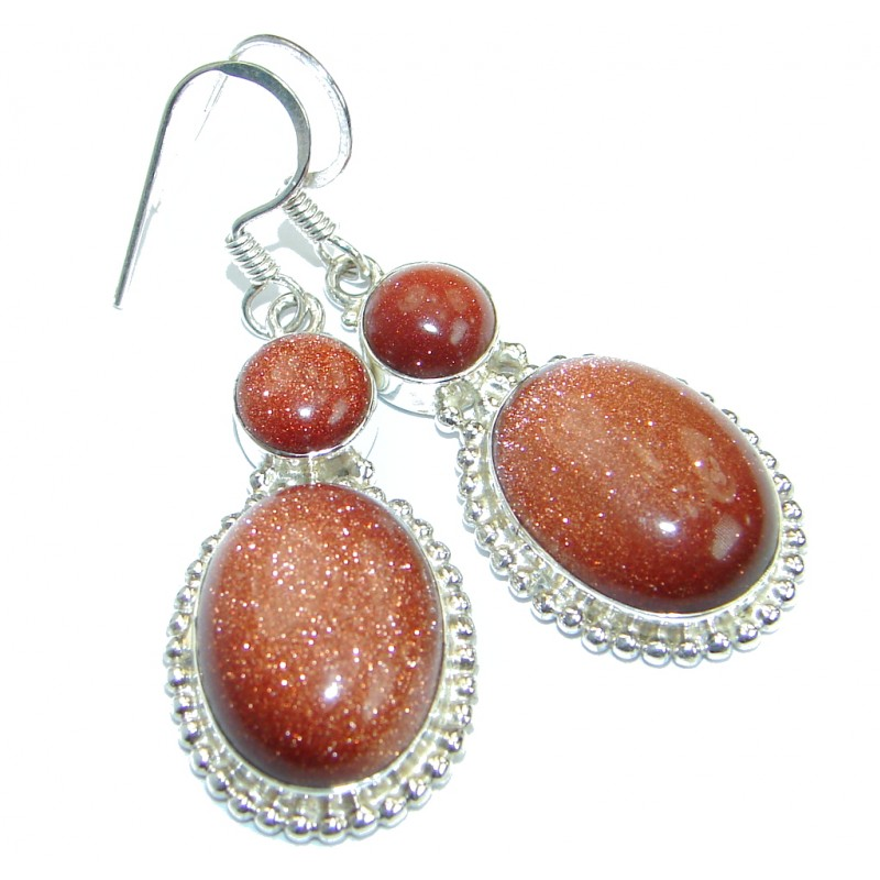Gorgeous Red Sun Sitara .925 Sterling Silver earrings