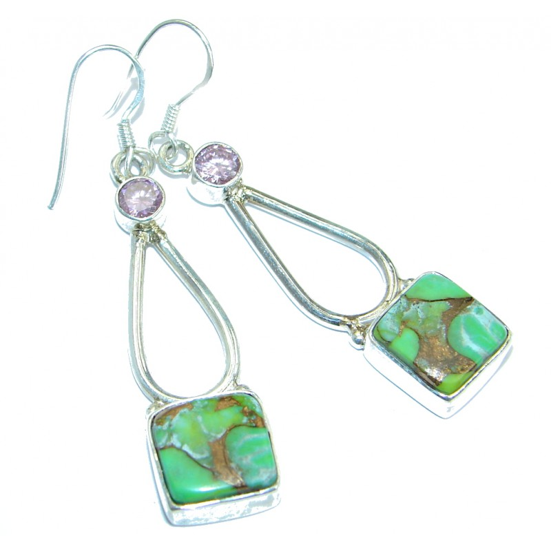 Perfect Green Turquoise with copper vains .925 Sterling Silver earrings