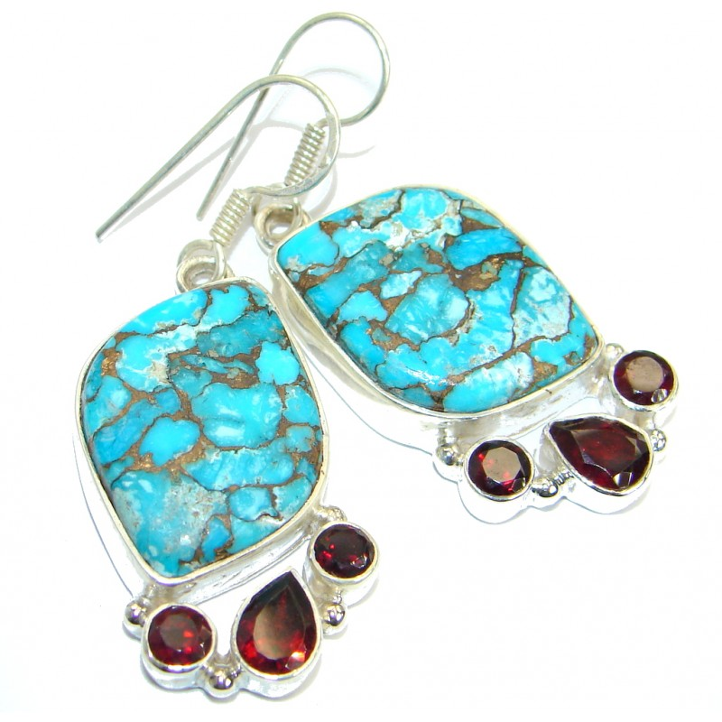 Perfect Turquoise with copper vains .925 Sterling Silver earrings