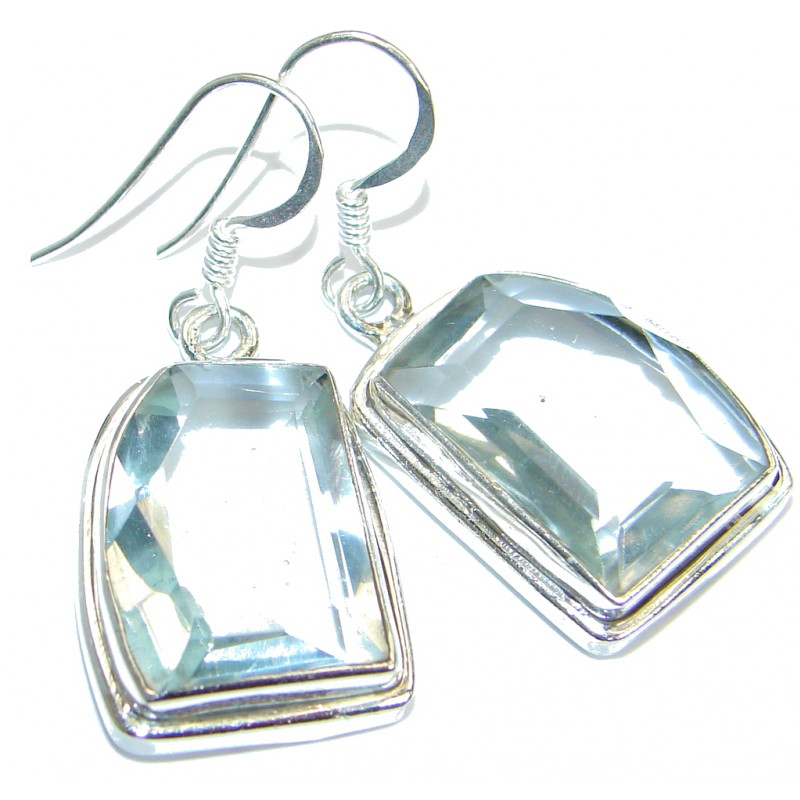 White Quartz .925 Sterling Silver handmade earrings