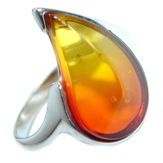 Genuine Baltic Polish Amber .925 Sterling Silver handmade Statment Ring size 8 1/2