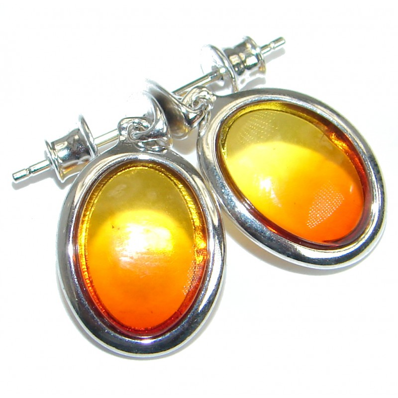 ff3b9eeddd6f4 SilverRushStyle.com - Luxury Genuine Baltic Polish Amber .925 Sterling  Silver Earrings