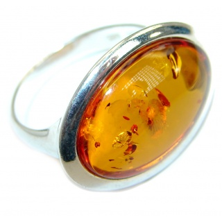 Genuine Baltic Polish Amber .925 Sterling Silver handmade Statment Ring size 8 1/4