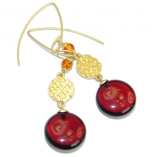 Luxury Genuine Baltic Polish Amber Gold over .925 Sterling Silver Earrings